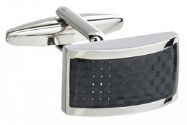Rectangular Cufflinks with a Curved Front & Black Carbon Fibre Strip Detailing