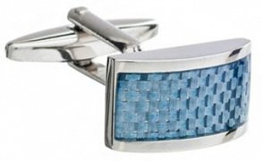 Rectangular Cufflinks with a Curved Front & Blue Carbon Fibre Strip Detailing