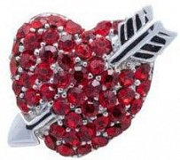Red Crystal Love Heart Lapel Pin