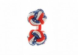 Red, White and Royal Blue Fleck British Flag Silk Cuffknots
