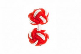 Red & White Silk Cuffknots