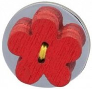 Red Wooden Flower Lapel Pin