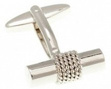 Rope Wrapped Simply Metal Tube Cufflinks