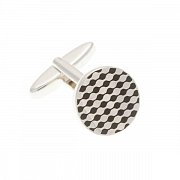 Round Black Enamel and Simply Metal Chessboard Cufflinks