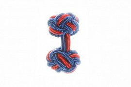 Royal Blue and Red Silk Cuffknots