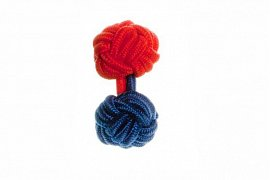 Royal Blue & Red Different Colour Ends Silk Cuffknots