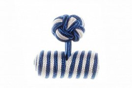 Royal Blue & White Barrel Silk Cuffknots