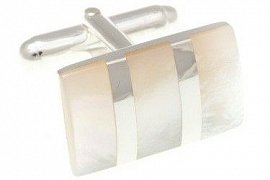 Silver Striped Mother Of Pearl Cufflinks