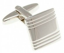 Simply Metal Striped Square Cufflinks