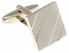 Square Tyre Track Cufflinks in Polished Metal