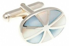 Sunray Cufflinks in 925 Solid Silver and Mother of Pearl