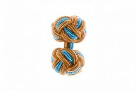 Tan, Camel and Blue Silk Cuffknots