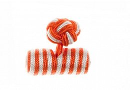 Tango Orange & White Barrel Silk Cuffknots