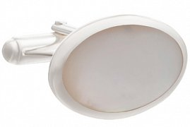 Timeless Classic Oval Cufflinks in 925 Solid Silver and Mother of Pearl
