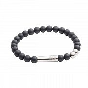 Tube Bead Bracelet in Matt Onyx