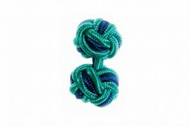 Turquoise Blue and Royal Blue Silk Cuffknots