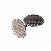 Vintage Engraved Checkered Chain Link Simply Metal Cufflinks